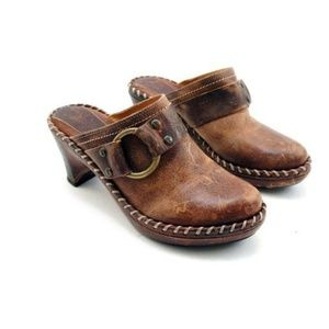 Frye Distressed Leather Harness Mules